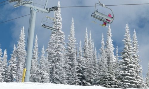 Chairlift with snowy trees